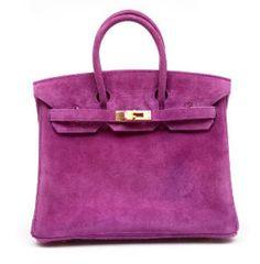 25cm Violet Suede Veau Doblis Birkin Hermes Handbags fdfb27fe33f0a