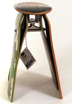 Skateboard Furniture - Skateboard Chair - Skateboard Clock - Skateboard Table