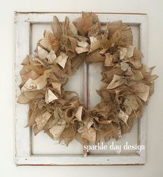 Burlap Wedding Decor Gold Wreath Rustic by SparkleDayDesign