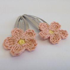 Pink Crochet Flower Hairslides on Etsy, £1.00