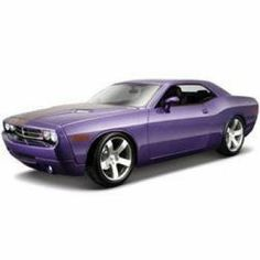 2006 Dodge Challenger Concept Purple 1:18 by Maisto. $25.34. Comes with display stand and Maisto showroom display. Four wheel suspension. 1:18 Scale. Full function steering. doors and trunk. Opening hood. Highly detailed die-cast precision model. Die-cast metal body with plastic parts. Opening doors, hood and trunk. Adjustable seat back. Full function steering. Four wheel suspension. Detailed chassis with separate exhaust system. Display stand and Maisto showroom d...