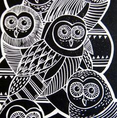 Mangle Prints: Owls Lino Print