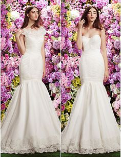 Fit & Flare Off-the-shoulder Wedding Dress (Tulle) - USD $ 399.99