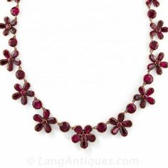 Georgian Garnet Flower Necklace, c. 1850 in 9ct. Gold