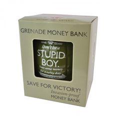 Dads army grenade stupid boy money bank Dad's Army, Army Gifts, Boys Are Stupid, Money Bank, Dads, Fathers, Savings Jar