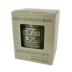 Dads army grenade stupid boy money bank