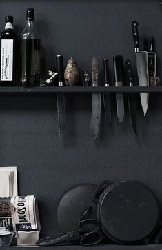 black walls in kitchen with wall knife storage. / sfgirlbybay