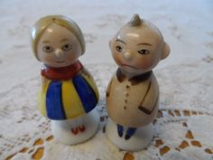 Vintage Rolly Poly Man and Woman Salt & Pepper Shakers Germany 5597 5598