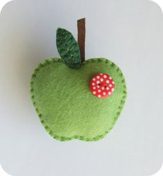 Felt brooch/pin green apple with a by jammypudding Felt Diy, Felt Crafts, Fabric Crafts, Sewing Crafts, Sewing Projects, Craft Projects, Felt Christmas Ornaments, Christmas Crafts, Felt Keyring
