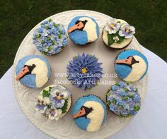 Butter Cream Swans and Pretty Pansies Arti Cakes By Maha Muhammed