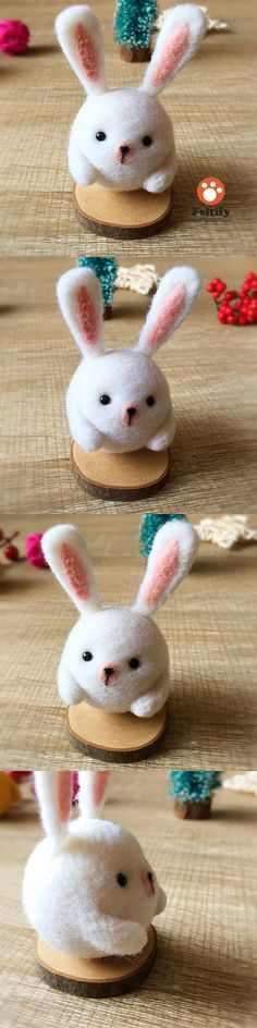 Handmade Needle felted felting kit project Woodland Animals bunny cute for beginners starters