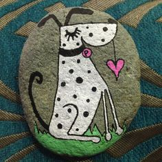 Hand Painted Beach Pebble Dog by ThembaPebbles