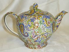 Vintage Royal Winton Blue Paisley Chintz Tea Pot