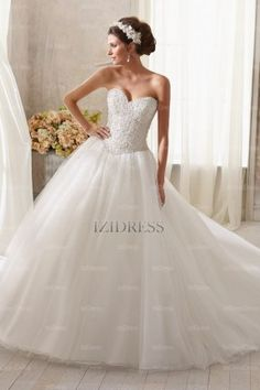 Ball Gown Sweetheart Strapless Chapel Train Tulle wedding dress - IZIDRESSBUY.com at IZIDRESSBUY.com