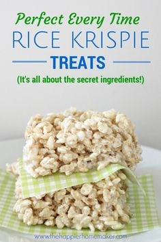 Perfect Rice Krispie Treats (it's all about the Secret Ingredients!)