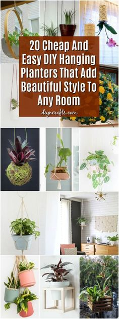 20 Cheap And Easy DIY Hanging Planters That Add Beautiful Style To Any Room During the spring and summer months, I love hanging plants on my porch. It just gives it such a beautiful look and it's a great way to keep my more sensitive plants where I can Cheap Planters, Fence Planters, Indoor Planters, Plants Indoor, Patio Plants, Outdoor Plants, Diy Spring, Diy Hanging Planter, Hanging Pots