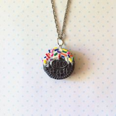 Dipped Mini Oreo necklace polymer clay by FlowerChildCharms