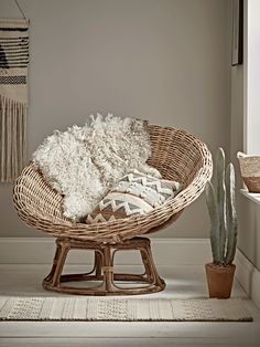 NEW Round Rattan Papasan Chair - Luxury Modern Occasional Chairs - Modern Luxury Seating - Modern Home Furniture Modern Home Furniture, Living Furniture, Cane Furniture, Rattan Furniture, Pallet Furniture, Furniture Decor, My Living Room, Living Room Chairs, Desk Chairs
