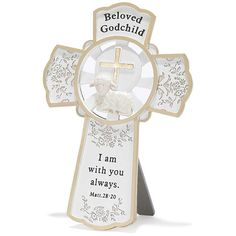 Dicksons Resin Tabletop Wall Cross, Beloved Godchild/White -- Check this awesome product by going to the link at the image.