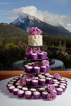 One small cake to cut for bride and groom and cupcakes for the guests. I think I'm going to do mini cakes instead of cupcakes. Purple Cupcakes, Wedding Cakes With Cupcakes, Cupcake Cakes, Cupcake Wedding, Icing Cupcakes, Cupcake Tree, White Cupcakes, Rose Cupcake, Birthday Cakes