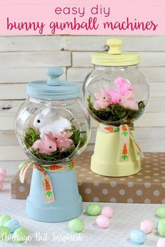 Adorable Spring Bunny Gumball Machine Craft - Easter and Spring Ideas - Adorable! Make these bunny gumball machines for your Easter decor or spring decor this year! Kids Crafts, Easter Crafts For Adults, Decor Crafts, Easy Easter Crafts, Kids Diy, Easy Crafts, Easter Décor, Easter 2020, Easter Stuff
