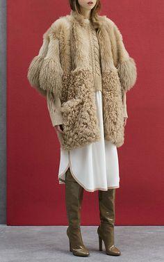 Agnona Fur Block Zip Poncho