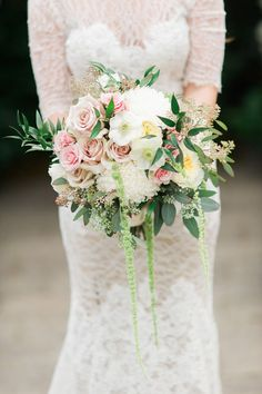 rose bouquet with amaranthus - photo by Kelly Sweet Photography http://ruffledblog.com/botanical-garden-wedding-with-glass-ceilings #weddingbouquet #flowers #bouquets