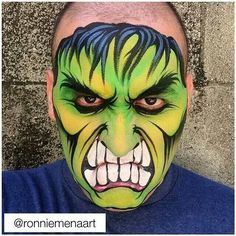 Hulk by Ronnie Mena face painting ideas for kids - 2019 Superhero Face Painting, Monster Face Painting, Face Painting For Boys, Face Painting Designs, Paint Designs, Amazing Halloween Makeup, Halloween Face, Mime Face Paint, Monster Makeup