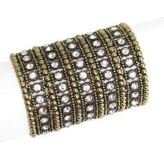 """Fashion Stretch Bracelet; 3.5""""W; Burnished Gold metal; Clear Rhinestones; Stretches to fit most; Eileen's Collection. $28.99. Save 52%!"""