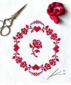 Redwork Roses ~ Free PDF Cross Stitch Pattern