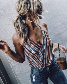 trendy summer outfit / striped v-neck top and shorts