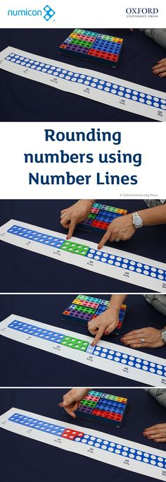How to: Round numbers using Number Lines Numicon Activities, Math Manipulatives, Key Stage 1 Maths, Math Place Value, Place Values, Rounding Numbers, Line Math, Maths Display, Math Graphic Organizers