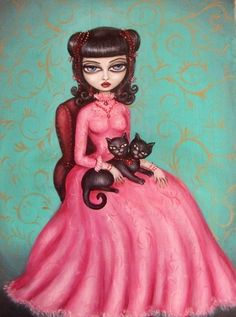 SIAMESE DREAM victorian big eye gothic girl with two headed cat GICLEE PRINT by NINA FRIDAY