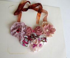 Pink floral statement  bib necklacelace fabric flower by seragun, $45.00