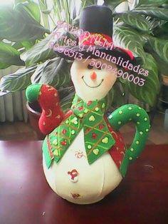 Christmas Crafts, Christmas Ornaments, Tea Pots, Snowman, Decoupage, Diy And Crafts, Cactus, Alcohol, Dolls