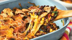 Vegetarian Nacho Casserole - Sobeys Inc. Nacho Casserole, Corn Snacks, Vegetarian Nachos, Food Network Recipes, Recipe Network, Plant Based Recipes, Lchf, Vegetarian Recipes, Veggies