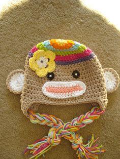 Crochet+Rainbow+Colorful+Sock+Monkey+Hat++Newborn+by+MRocheCrochet,+$21.00