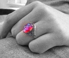 Fire Opal Ring Dragon's Breath Ring Gothic Jewelry by TwigsAndLace
