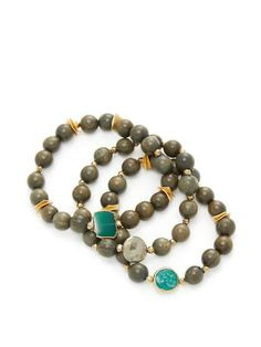 Green Wooden Bead Stretch Bracelets, Set of Three from Natural Stones Feat. Janna Conner on Gilt Stretch Bracelets, Beaded Bracelets, Wooden Beads, Bracelet Set, Natural Stones, Turquoise Bracelet, Product Launch, Shoe Bag, Green