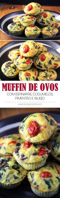 MUFFINS DE OVOS COM ESPINAFRE, COGUMELOS, PIMENTÃO E QUEIJOS -- Receita deliciosa e super fácil de muffins de ovos. Uma opção super saudável, lowcarb e deliciosa para o café da manhã ou lanches   temperando.com #muffins #lowcarb