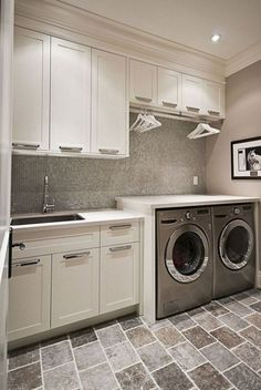 DIY Laundry Room Cabinet Storage Selves Ideas For Small Rooms ideas laundry utility sink Laundry Room Tile, Laundry Room Remodel, Laundry Room Cabinets, Basement Laundry, Small Laundry Rooms, Laundry Room Organization, Small Rooms, Diy Cabinets, Small Spaces