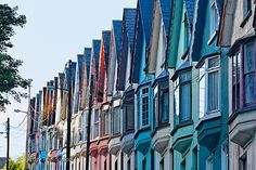 Colorful Row of House Facades, Cobh Town, County Cork, Ireland Real Estate Leads, Selling Real Estate, Facade House, House Facades, Houses In Ireland, Irish Cottage, County Cork, Property Management, House Colors