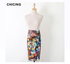 CHICING Women Pencil Skirts Abstract Art Oil Painting Graffiti Print High Waist Tube Wrap Bodycon Midi Jupe Faldas A1603036