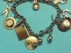 Coro in Script Goldtone Charm Bracelet Fun by SweetBettysBling, $28.00