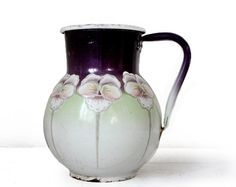 Very decorative ART NOUVEAU Antique FRENCH enamel JUG- water Pitcher - Pot shabby chic  With relief Flowers  purple and green  white enamel inside,
