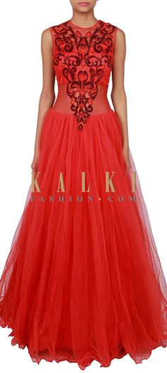 Buy Online from the link below. We ship worldwide (Free Shipping over US$100) http://www.kalkifashion.com/red-gown-adorn-in-kundan-and-resham-embroidery-only-on-kalki.html