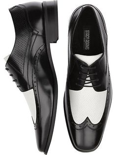 Stacy Adams Whitby Black and White Wingtip Shoes - mens warehouse for my Dad Me Too Shoes, Men's Shoes, Shoe Boots, Look Fashion, Fashion Shoes, Mens Wingtip Shoes, Reebok, Spectator Shoes, White Dress Shoes