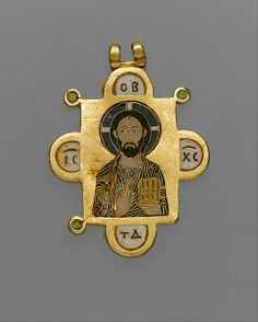 Double-Sided Pendant Icon with the Virgin and Christ Pantokrator    Date: ca. 1100,  made in, Constantinople   Culture: Byzantine   Medium: Gold, cloisonné enamel   Dimensions: Overall: 1 5/16 x 15/16 x 1/16in.