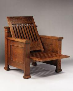 FRANK LLOYD WRIGHT An Oak Reclining Armchair, designed for the William E. Martin House, Oak Park, Illinois, circa 1902