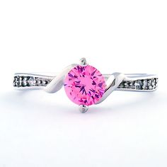 Entwined Love: Pink Sapphire and CZ Promise Friendship Band Ring - Trustmark Jewelers
